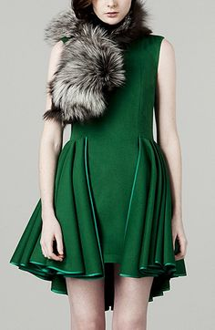 ruffled emerald dress ~ love the color and the symmetrical hemline