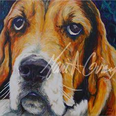 Tableau de chien Basset au couleurs fantaisistes qui créent une illusion réalistes, un regard touchant de cet ami canin évoqué dans cette image de Marie A. Giroux. Chien Basset, Illusion, Portrait, Images, Face, Dogs, Prints, Painting, Pet Gifts