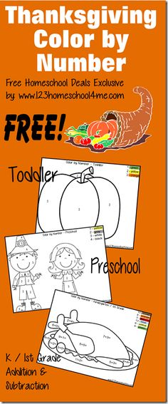 FREE Thanksgiving Color by Number - These kindergarten worksheets and preschool worksheets are a fun math activity. These math worksheets for kids are great for practicing numbers, addition and subtraction. Thanksgiving Preschool, Thanksgiving Worksheets, Thanksgiving Ideas, Fall Preschool, Free Homeschool Curriculum, Homeschooling, Make Up Braut, Workshop, Preschool Activities