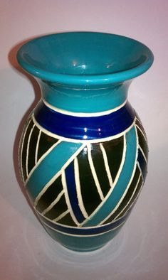 Turquoise black and blue scraffito vase by MarkCampbellCeramics, $50.00
