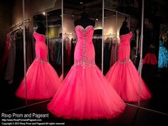 This unbelievably beautiful hot pink mermaid gown features a sweetheart neckline detailed with sparkling crystals and a lace-up back for easy up or downsizing. Perfect for prom or pageant and it's at Rsvp Prom and Pageant, Atlanta, GA