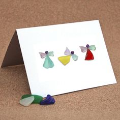 Christmas Card or Notecard, Sea Glass Angels I by Maine artist Tricia Granzier, Owner of Coast to Cottage on Etsy.