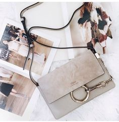 ❤️ gorgeous ❤️  70's inspired ~ Chloè Faye small shoulder/crossbody bag ~ grey ~ suede ~ metal ring & chain ❤️ minimal, chic, classy ❤️ Where to Get It ❤️ $60 ❤️