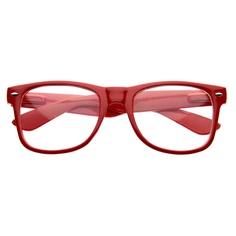 Retro Clear Lens Nerd Geek Wayfarer Glasses 2873 Red