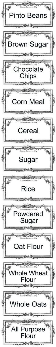 pantry labels - going to try to add a rose graphic to these and print out on clear contact paper. Semi clear labels without the cost of waterslide decal paper.