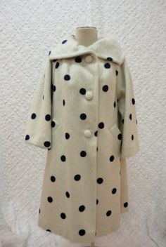 Vintage 1950s Ivory with Blue Polka Dot Mohair Coat by Lilli Ann $895.00, via Etsy.