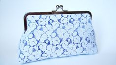 Wedding Purse Something Blue Off White Lace Satin Royal Blue Clutch