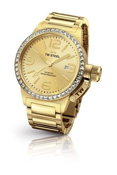 TW Steel Canteen Quartz Gold Dial with crystals Womens Watch Gold Watch, Rolex Watches, Quartz, Steel, Crystals, Accessories, Women, Fashion, Private Jets