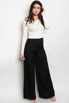 Women Black Silk Wide Leg High Waist Palazzo Pants Trousers Dressy Casual Style