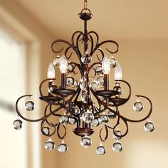 Wrought Iron and Crystal 5-light Chandelier - Overstock™  $162 Shopping - Great Deals on Otis Designs Chandeliers & Pendants