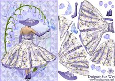 1950 s Beautiful Lilac Flower Lady Decoupage on Craftsuprint designed by Sue Way - A pretty lady in a 1950's style dress, with a flared skirt