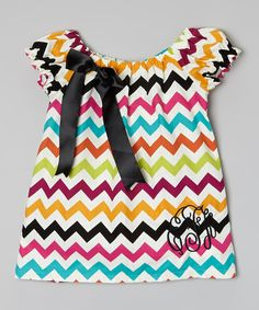 Love this Blue & Purple Zigzag Monogram Dress - Infant, Toddler & Girls by Enchanted Fairyware Couture on #zulily! #zulilyfinds