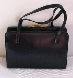 Vintage BLACK LEATHER HANDBAG by Mayer  1960s by vintagous on Etsy, $23.00