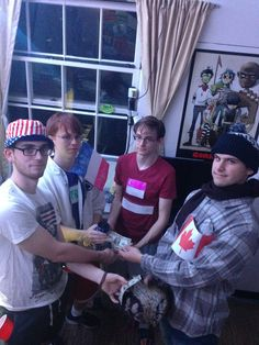 Submitted by multiple people (Fall 2015) -- International Trade: We each dressed up as the colors of the nation's flag we represented. Each of us is trading an item with one another for cash.