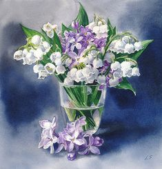 lilacs and lily of the valley bloom in this sweet watercolor.