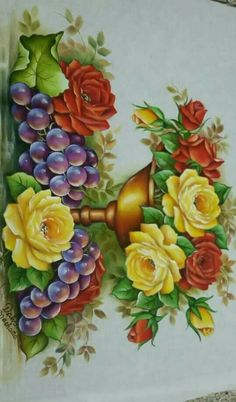 Tole Painting, Fabric Painting, Painting & Drawing, Victorian Flowers, Rose Art, Fall Flowers, Flower Pots, Floral Wreath, Clip Art