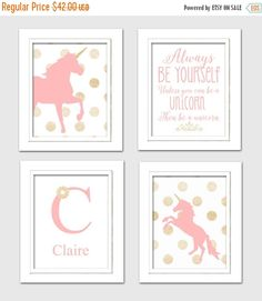 25% OFF SALE : Pink and Gold Nursery Unicorn by ChicWallArt