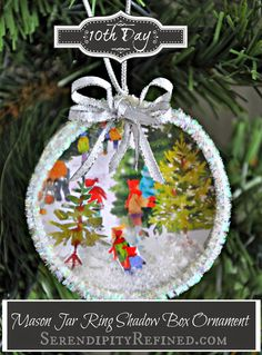 DIY Mason Jar Lid Ring Christmas Card Shadow Box Ornament Tutorial Serendipity Refined -- ok, I have got to make some of these