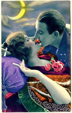 https://flic.kr/p/dkiiWZ | art deco love | Vintage, hand tinted 1920's postcard