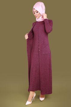 Kendinden Yelekli Tesettür Elbise Şarabi Ürün kodu: KNZ3118 --> 39.90 TL