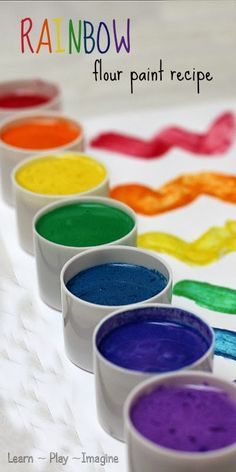 To make colorfull ads with the kids.Super simple homemade paint recipe in gorgeous, vibrant colors! The texture is smooth and silky, perfect for using brushes or finger painting. Craft Activities For Kids, Projects For Kids, Diy For Kids, Craft Projects, Rainbow Activities, Craft Tutorials, Toddler Activities, Toddler Crafts, Crafts For Kids