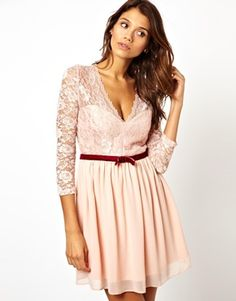 ASOS 3/4 Sleeve Lace Scallop Skater Dress -So cute!!!!!!
