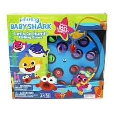 Baby Shark Spin Master Fishing Game - The entire family will love playing the Baby Shark Fishing Game from Spin Master. Grab onto the colorful fish with the Baby Shark-themed fishing rod as board spins, and the player who reels in the most wins. Preschool Board Games, Puzzle Games For Kids, Puzzles For Kids, Shark Games For Kids, Baby Shark Song, Go Game, Toys Uk, Kids Toys, Baby Invitations