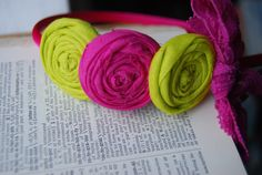 Hot Pink and Lime Headband Rosette with a by TheCraftyEuropean, $11.00