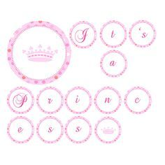 Princess Baby Shower Banner   Pink Polka Dots Girl Crown Printable Party  Decoration INSTANT DOWNLOAD