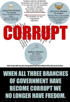 When All Three Branches of the government become CORRUPT we no longer have FREEDOM ......