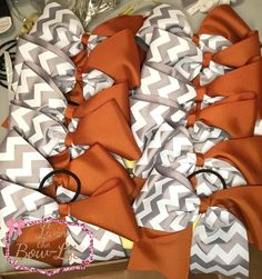 Burnt Orange and Grey and White Chevron tic toc cheer bows- Team set 12 by LivinTheBowLife on Etsy