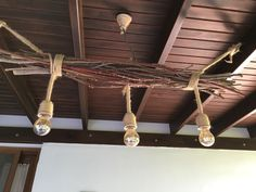 Home made from sticks and rope. Great for outdoor