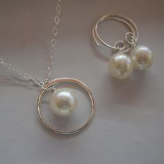 Necklace and Earring set Akoya Pearl Eternity circle - All Solid Sterling Silver - Bridal Necklaces, Wedding, Bridal Favors, Lizi Tiny Hoop. $38.00, via Etsy.