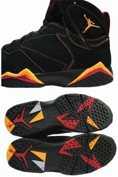 separation shoes fd763 3e7cf Air Jordan 7 (VII) Retro - Black   Citrus - Varsity Red Jordan 7