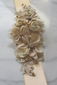 Champagne Gold Bridal Sash Gold Flower Wedding by TheRedMagnolia