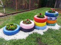 We boost garden decoration with these incredible DIY ideas of colorful pots from. We boost garden decoration with these incredible DIY ideas of colorful pots from old tires- We boos Allotment Gardening, Backyard Vegetable Gardens, Ponds Backyard, Backyard Landscaping, Outdoor Gardens, Diy Flowers, Flower Pots, Tire Garden, Old Tires