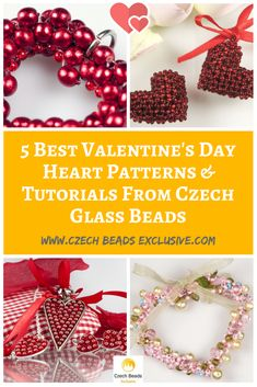 5 Best Valentine's Day Heart Patterns and Tutorials from Czech Glass Beads Inspirational Collection or Your Beading Experiments! - Buy now with discount! www.CzechBeadsExclusive.com Hurry up - sold out very fast! SAVE them! #czechbeadsexclusive #czechbeads