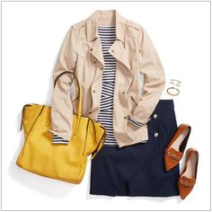 CHATA'S DAILY TIP: On-trend stipes and a bold yellow accent take this outfit from drab to fab! Wear a casual jacket, in a complementing neutral shade, for cooler days and evenings. If you have a fuller figure opt for vertical stripes instead of horizontal stripes. The navy skirt and stone shoes anchors the outfit.COPY CREDIT: Chata Romano Image Consultant, Mirella Pearson http://chataromano.com/consultant/mirella-pearson/ IMAGE CREDIT: Pinterest #chataromano #imageconsultant #style #fashion