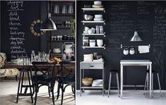 Меловые обои в интерьере кухни в стиле кафе