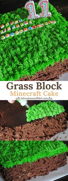 Grass Block Minecraft Cake recipe with printable supply list and instructions. Fun, festive, and super easy Minecraft birthday cake anyone can make, perfect for a Minecraft party! #minecraft #birthdaycake #cake #cakedecorating #minecraftparty #dessert #chocolatecake