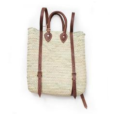 This charming backpack is our favorite basket! Practical and beautiful it is the perfect companion for your next trip to the market! Leather Handle, Tan Leather, Alternative To Plastic Bags, French Baskets, Market Baskets, Straw Bag, Hand Weaving, Reusable Tote Bags, Backpacks