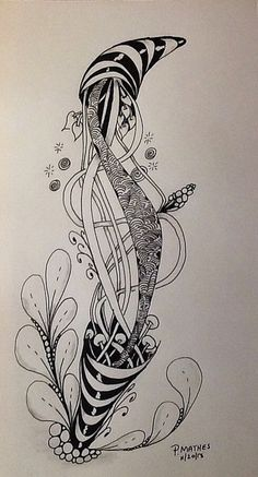 image by Pat Mathes Zentangle Drawings, Doodles Zentangles, Zentangle Patterns, Art Drawings, Tangle Doodle, Doodle Art, Triangle Art, Art Optical, Doodle Designs