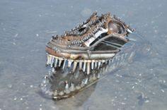 Scrap metal alligator head sculpture by ContrivedCuriosities