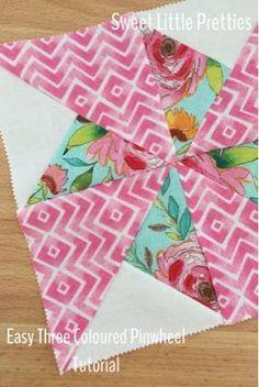 Quilting Technique - Easy Three Coloured Pinwheel Tutorial - Sweet Little Pretties