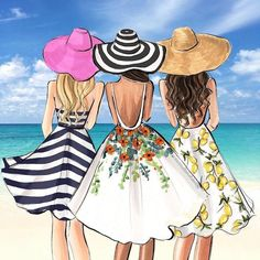 ▷ 1001 + nice pictures to paint and video instructions - Summer 2020 Best Friend Sketches, Friends Sketch, Best Friend Drawings, Girly Drawings, Cute Kawaii Drawings, Vogel Illustration, Woman Illustration, Fashion Design Drawings, Fashion Sketches