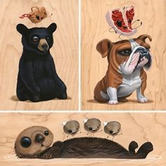 """Cuddly Rigor Mortis """"I'm Not Hungry"""" Show at Gallery 1988! Adorable creature (+ food) filled art on wood!"""
