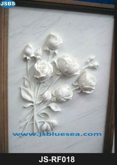 Hand Carved Round Marble Wall Mother and Baby Relief Sculpture