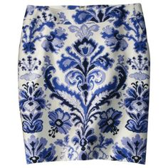 Merona Women's Doubleweave Pencil Skirt - Blue Print - 12