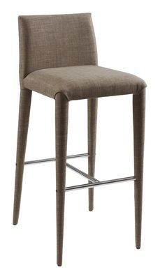 A fully covered bar stool in a textured natural coloured fabric