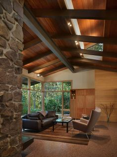The Lake Forest Park House Interior - a renovation to a Northwest Contemporary house on a secluded, wooded site about 25 miles north of Seattle,